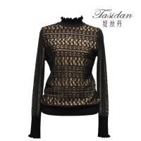 缇丝丹tasidan 羊毛立领前片蕾丝长袖针织衫