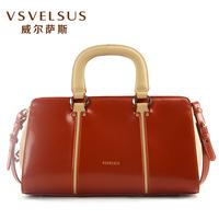 威尔萨斯名牌包包亮皮女包正品箱型漆皮牛皮女款单肩手提包VA2920