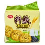思朗纤麸黑芝麻味消化饼干五谷杂粮燕麦纤维全麦粗粮380g