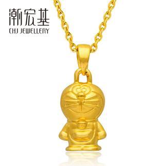潮宏基 哆啦A梦 站立式 驻足远望 3D硬金 黄金/足金吊坠小版
