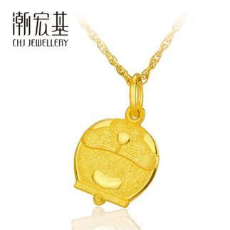 潮宏基 开心 哆啦A梦表情 3D硬金 黄金/足金吊坠