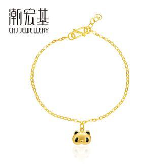 潮宏基 熊猫熙熙ChiChi(无蝴蝶结) 3D硬金 黄金/足金手链