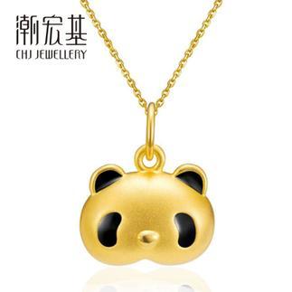 潮宏基 熊猫熙熙ChiChi(无蝴蝶结) 3D硬金 黄金/足金吊坠(大版)