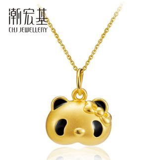 潮宏基 熊猫琪琪QiQi(蝴蝶结款) 3D硬金 黄金/足金吊坠(小版)