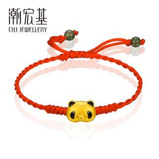 潮宏基 熊猫宝宝 活泼(无蝴蝶结大版)3D硬金 黄金/足金转运珠/手绳