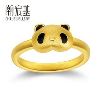潮宏基 熊猫ChiChi&QiQi 3D硬金 黄金/足金戒指