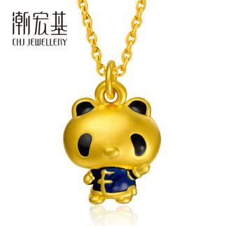 潮宏基 熊猫宝宝 风度翩翩 (无蝴蝶结)3D硬金 黄金/足金吊坠