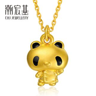 潮宏基 熊猫宝宝 温文尔雅 (无蝴蝶结)3D硬金 黄金/足金吊坠