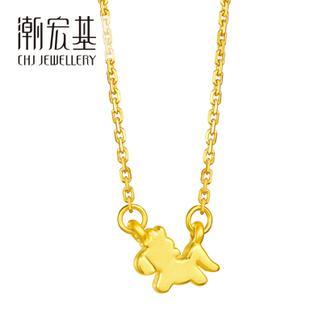 潮宏基 PONY旋转木马 3D硬金 黄金/足金坠链