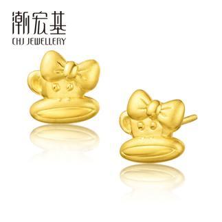 潮宏基 Paul Frank(大嘴猴)24K纯帅系列 小甜心 3D硬金 黄金/足金耳钉