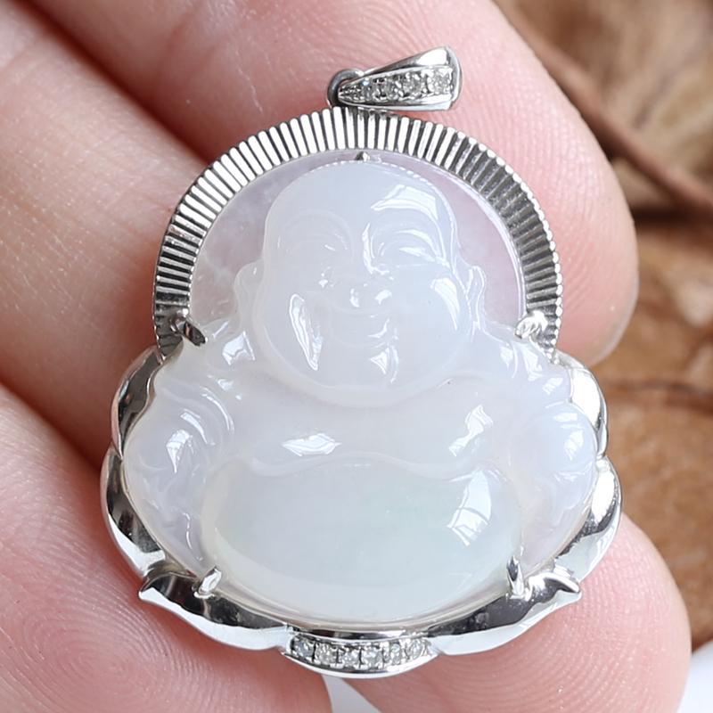 金世玉49882622087 18k金钻石镶嵌翡翠玉佛吊坠