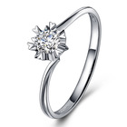 兆亮珠宝 雪花18K白金戒指女款钻戒 正品戒指女求婚戒指