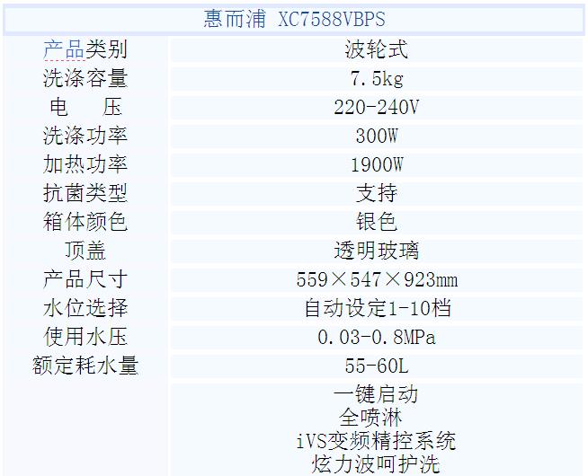 惠而浦xqb75-xc7588vbps变频全自动洗衣机