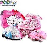 溜冰鞋喜羊羊与灰太狼溜冰鞋YY-330儿童可调式轮滑鞋小孩旱冰鞋闪光套装