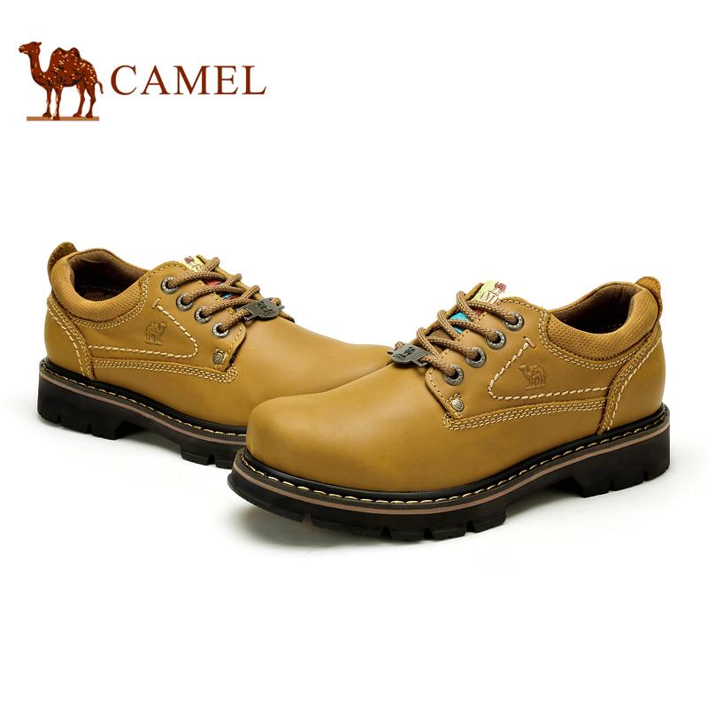 Camel 骆驼男鞋 时尚真皮系带工装鞋大头鞋休闲男鞋