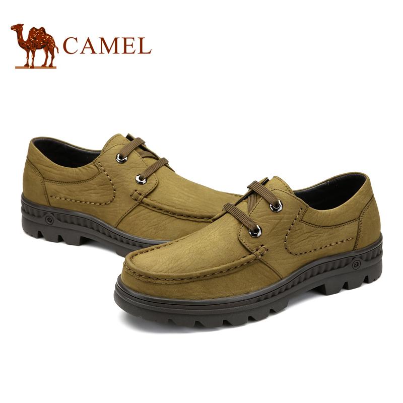 Camel 骆驼男鞋 真皮头层皮日常休闲皮鞋秋季新款系带男鞋