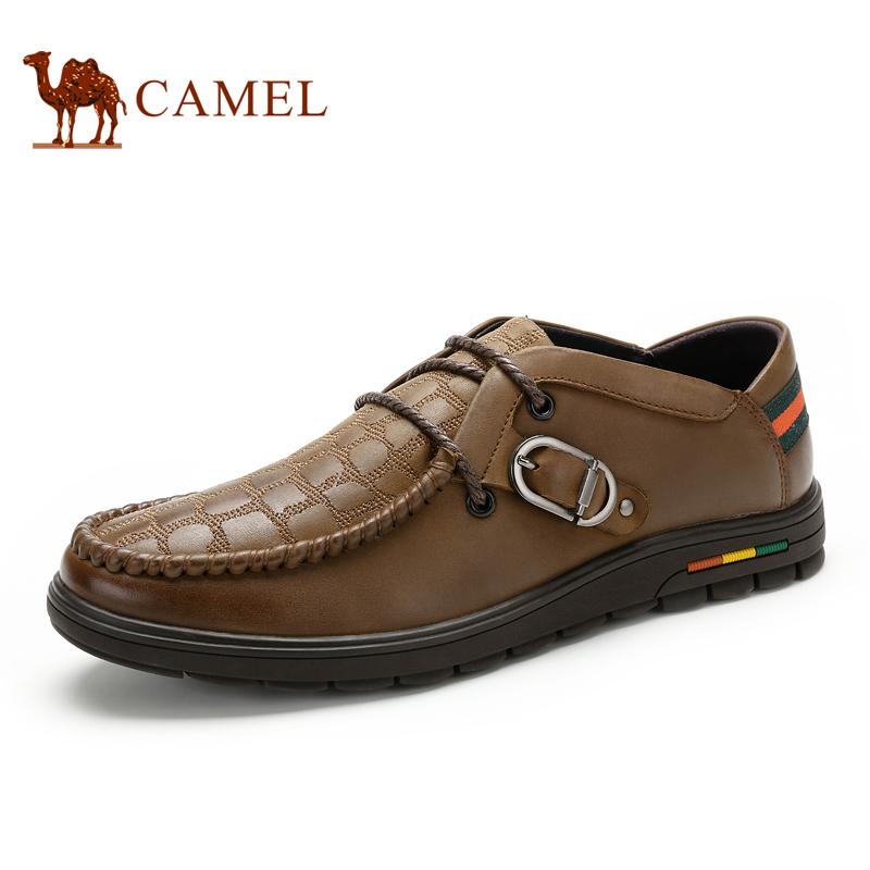 Camel 骆驼男鞋 秋季新款韩版时尚潮鞋 真皮日常休闲男鞋