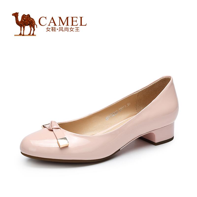 Camel骆驼女鞋 优雅简约 2015新款圆头牛漆皮方跟低跟女单鞋