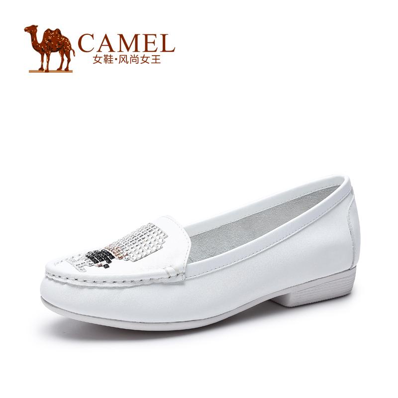 Camel骆驼女鞋 舒适时尚 圆头水钻轻修牛皮粗低跟春夏单鞋