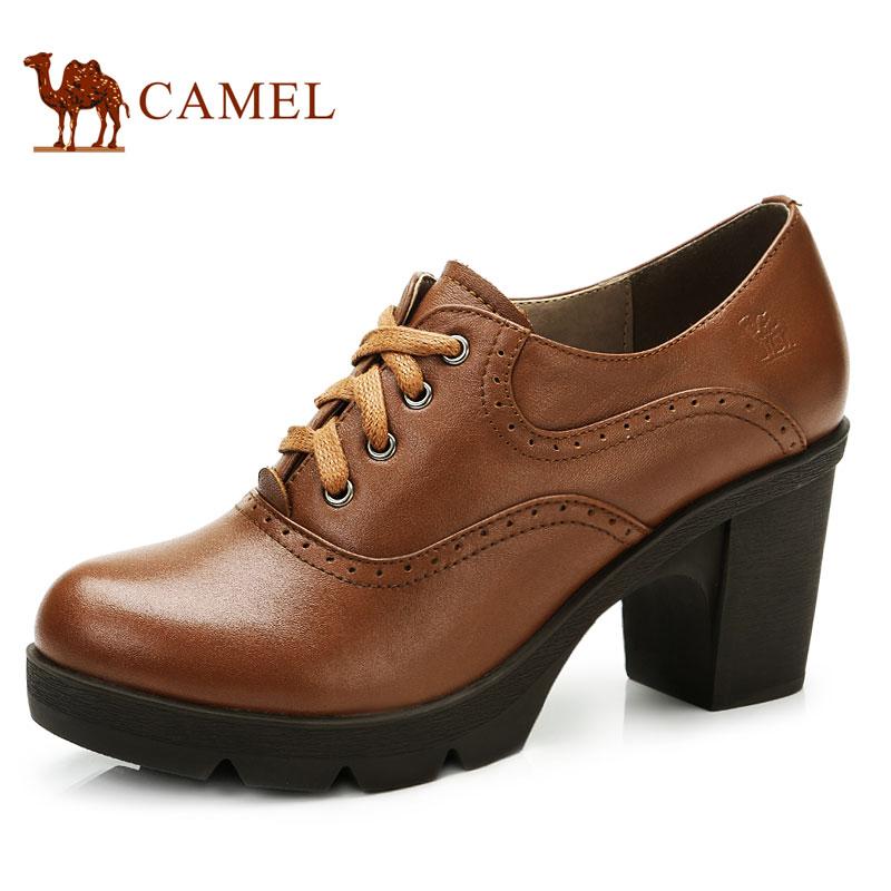 camel骆驼女鞋 秋季正品休闲鞋舒适浅口单鞋真皮皮鞋高跟鞋粗跟