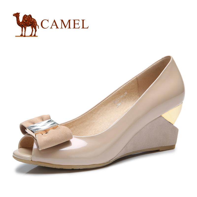 camel骆驼女鞋正品真皮坡跟蝴蝶结时尚浅口单鞋 春季新款