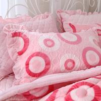 夹棉枕套  雕花绒枕套 保暖枕套 一对装