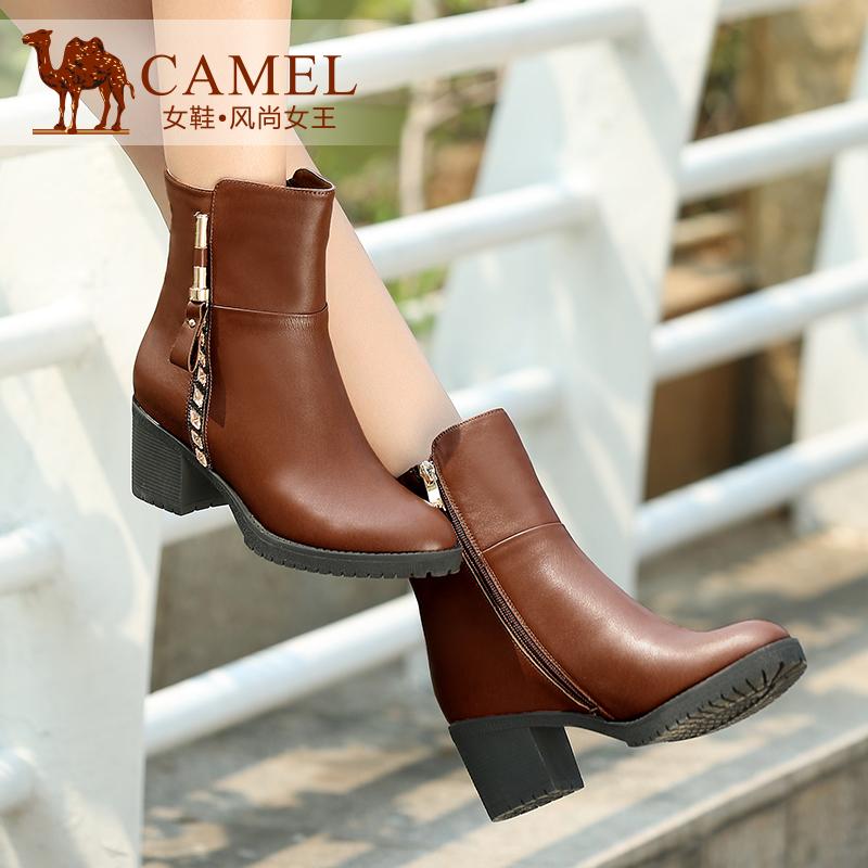 Camel骆驼女靴 时尚优雅真皮圆头侧拉链高跟中筒靴秋冬新款