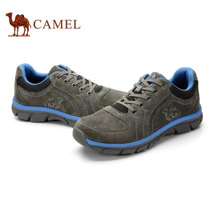 camel骆驼户外徒步鞋 牛皮低帮户外系带徒步鞋 秋季新品男士鞋子