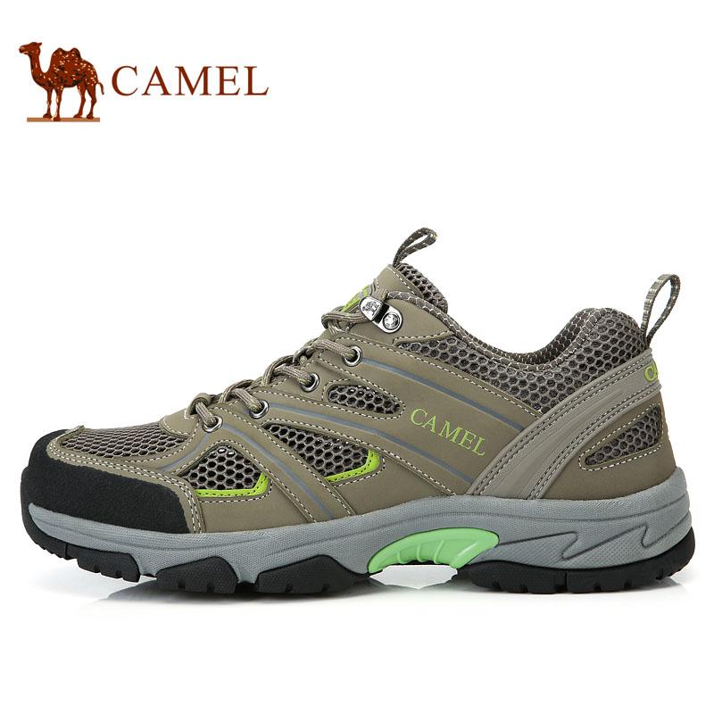 camel骆驼 户外休闲鞋 登山鞋 徒步男鞋透气网布低帮系带男款鞋子
