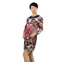 丝辉印月    S81010弹力喷绘连衣裙