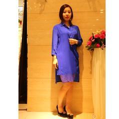 丝辉印月   S1F017素色真丝连衣裙