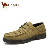 camel骆驼男鞋 日常休闲镂空男士皮鞋 低帮系带男鞋 真皮头层皮