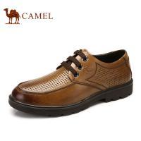 camel骆驼男鞋 正品 透气镂空真皮头层皮 圆头橡胶牛皮系带皮鞋男鞋