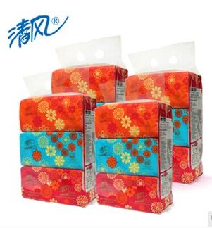 清风纸巾超质感软抽纸巾150抽/包4提超柔韧抽取式面巾纸包邮BR435UAP*4提