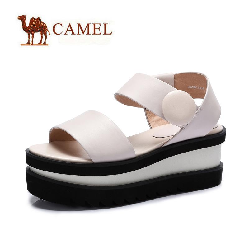 camel骆驼女鞋 时尚休闲 夏新品打蜡牛皮魔术贴高跟凉鞋