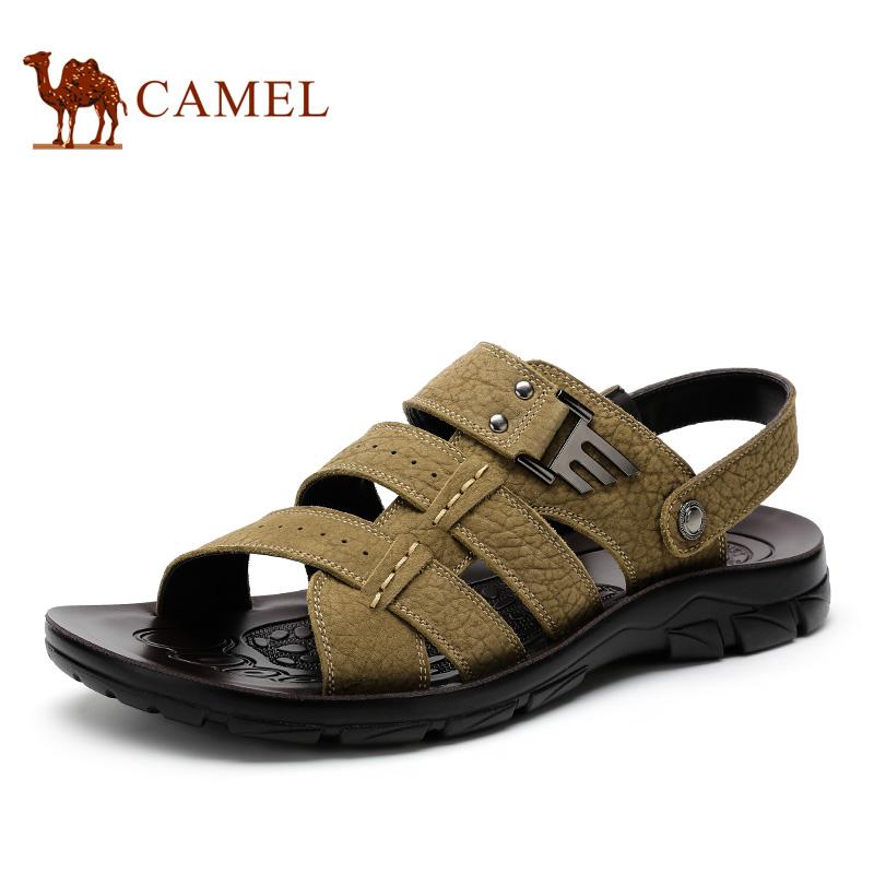 camel 骆驼男鞋 英伦时尚透气凉鞋 夏季新款磨砂皮日常凉鞋