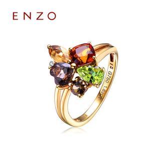 ENZO   18K黄金橄榄石黄晶烟晶钻石彩色宝石女戒