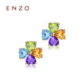 ENZO   18K黄金托帕石彩宝四叶草耳环