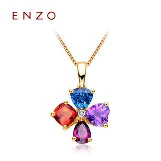 ENZO   18K黄金石榴石紫晶黄晶托帕石吊坠(不含链)