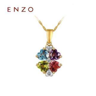 ENZO  18K金彩虹碧玺托帕石紫晶橄榄石彩色宝石吊坠(不含链)