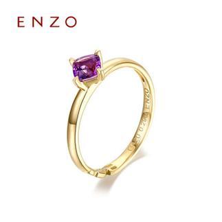 ENZO   10K黄金托帕石石榴石紫晶宝石女戒