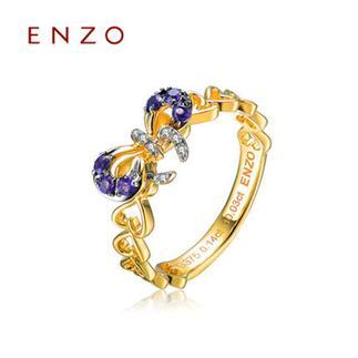 ENZO    9K黄金彩宝蝴蝶结心形镂空群镶钻石女戒
