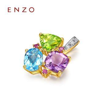 ENZO   18K金镶嵌托帕石橄榄石红碧玺彩色宝石吊坠(不含链)