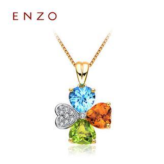 ENZO  18K金橄榄石黄晶托帕石钻石天然彩宝吊坠(不含链)