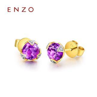 ENZO   18K黄金彩宝镶钻石耳环 黄晶紫晶2种可选