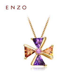 ENZO   18K金紫晶黄晶石榴石天然彩宝吊坠