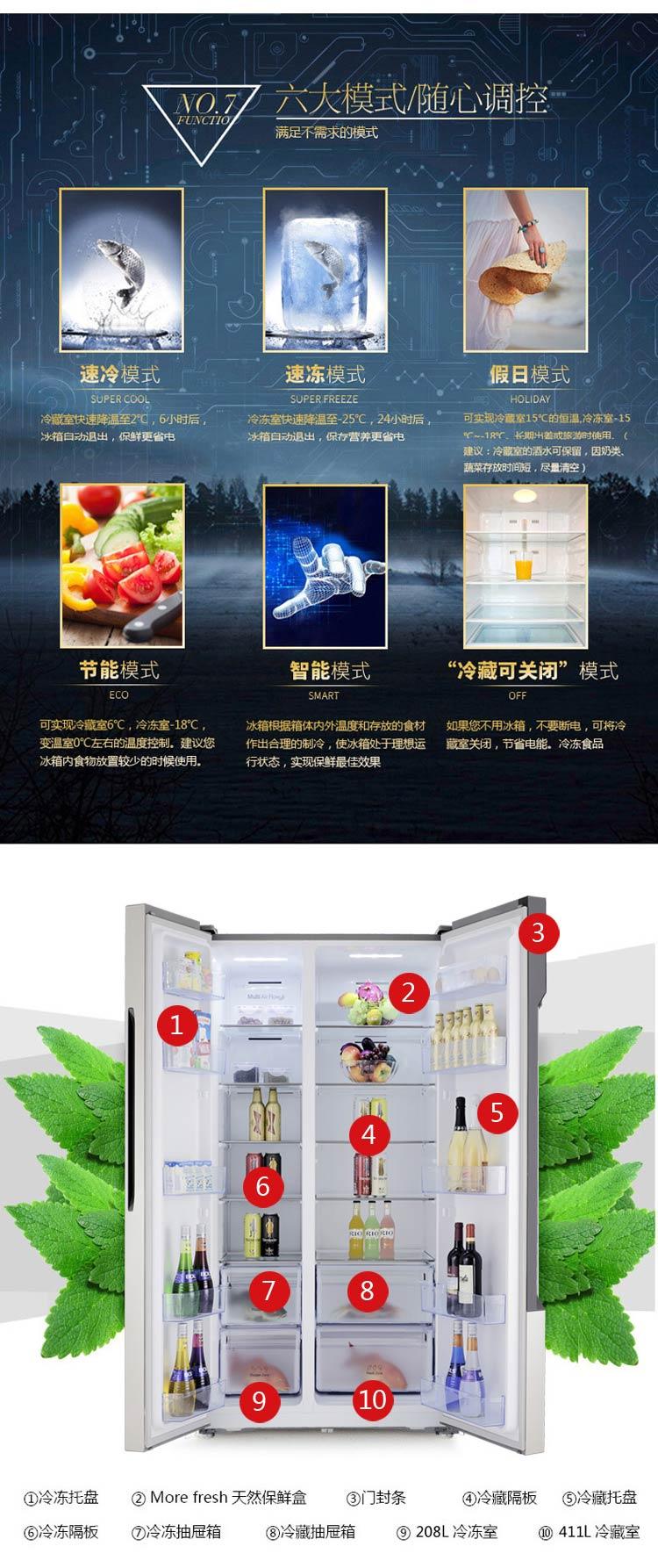 海信冰箱bcd-636wt,大容量,风冷无霜,金属色