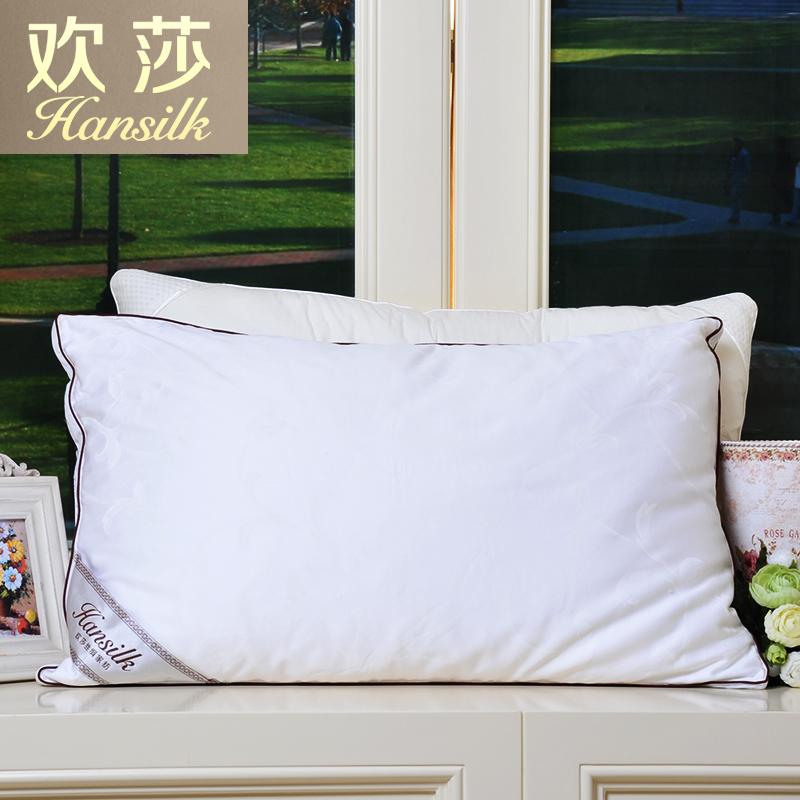Hansilk/欢莎全棉提花面料超细纤维加桑蚕丝长丝绵填充枕头枕芯