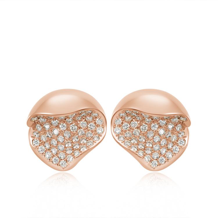 桃花系列含苞待放玫瑰色18K金镶钻石耳钉