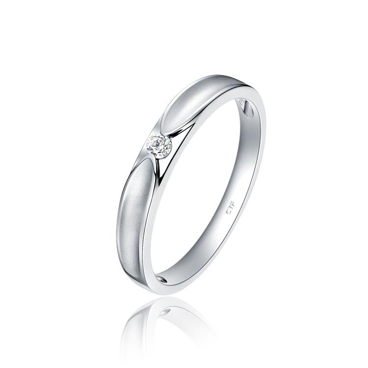 周大福情约系列永恒Pt950铂金镶钻石戒指对戒(男款)